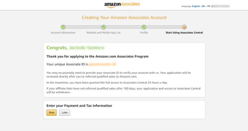 amazon associates account creation confirmation