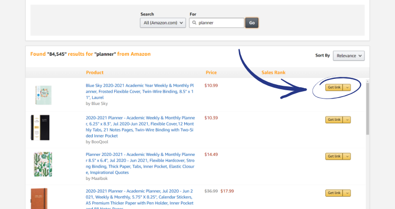 amazon associates get product link