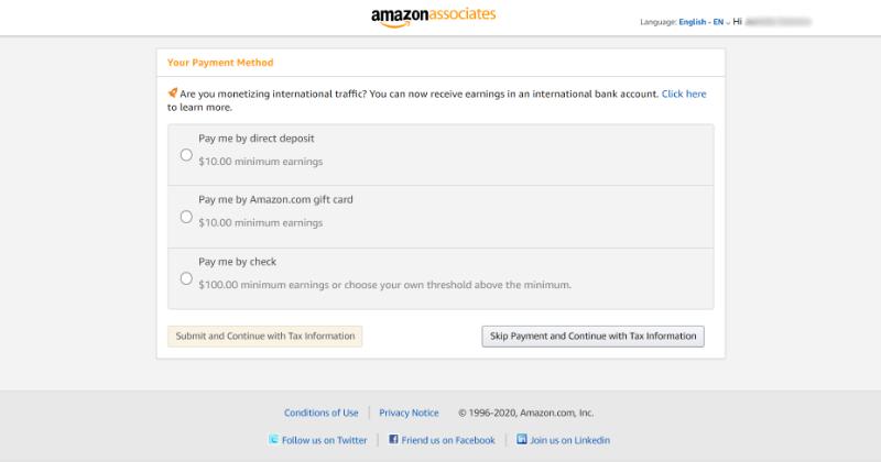 amazon associates payment info