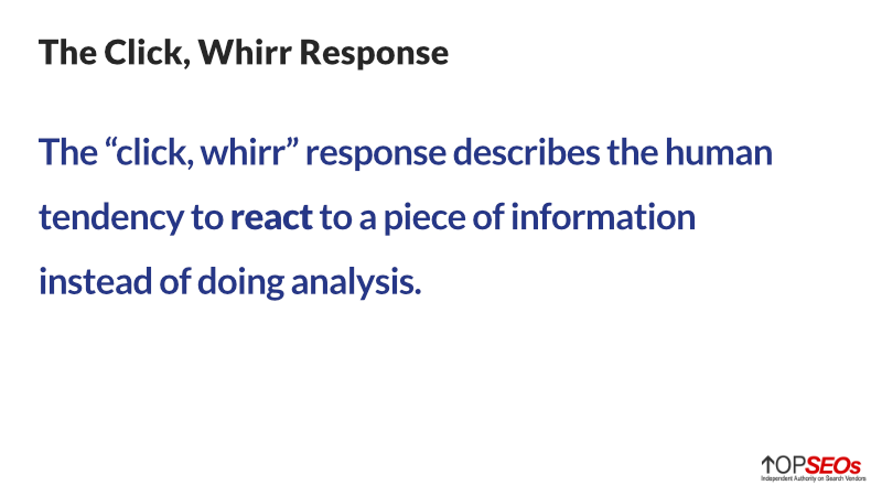 click, whirr response