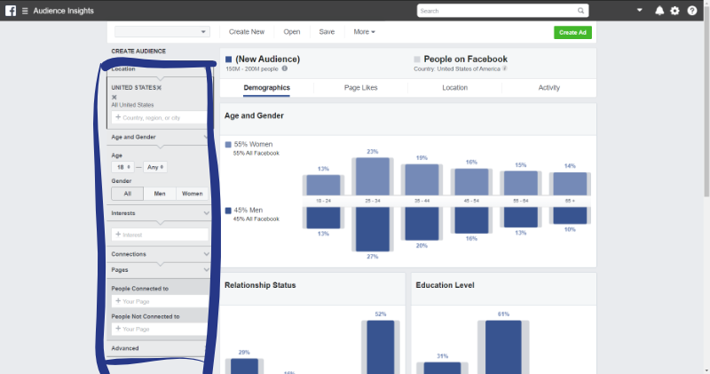 how to refine an audience on facebook audience insights