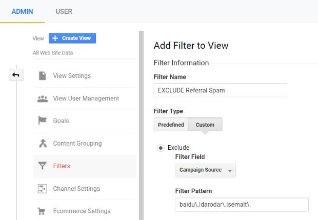google analytics additional referral spam filter