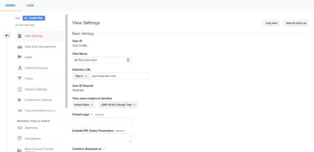 google analytics admin copy view
