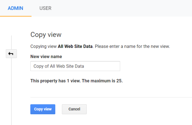 google analytics admin name copied view