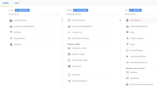 google analytics admin view settings