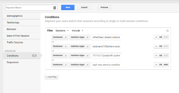 google analytics enter regex strings