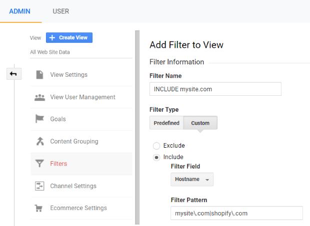 google analytics hostname filter