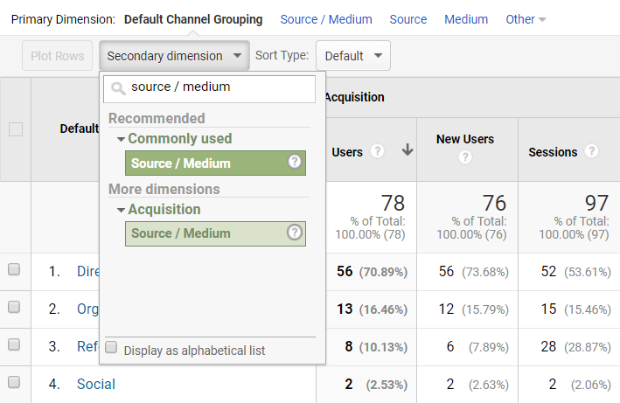 google analytics secondary dimension source medium