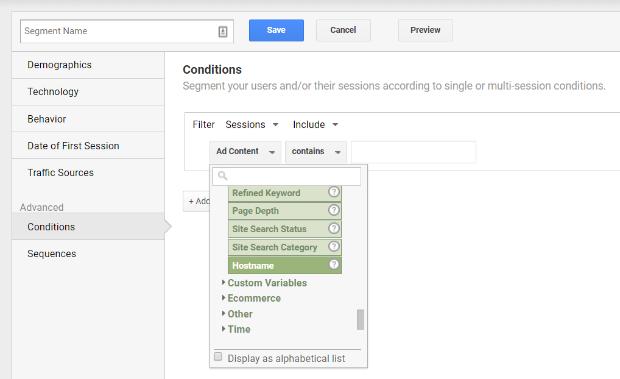 google analytics behavior hostname