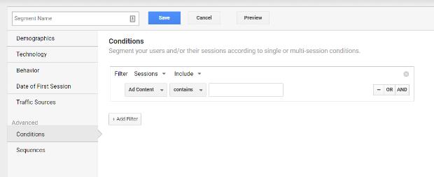 google analytics segment conditions