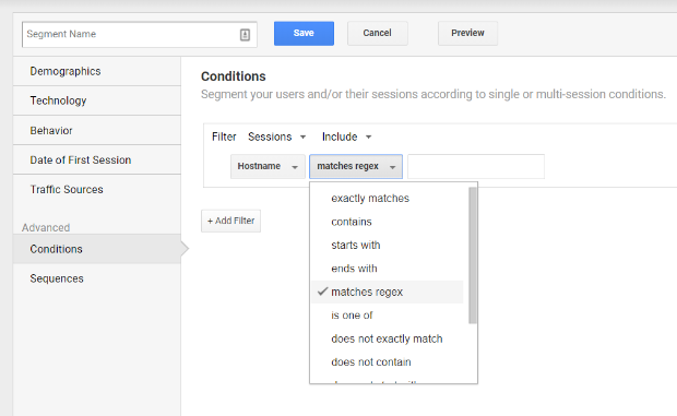 google analytics segment matches regex