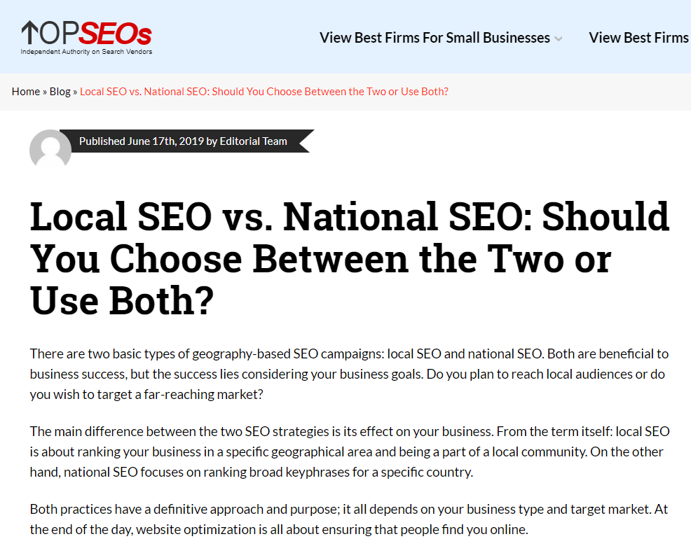 use keyword early in content