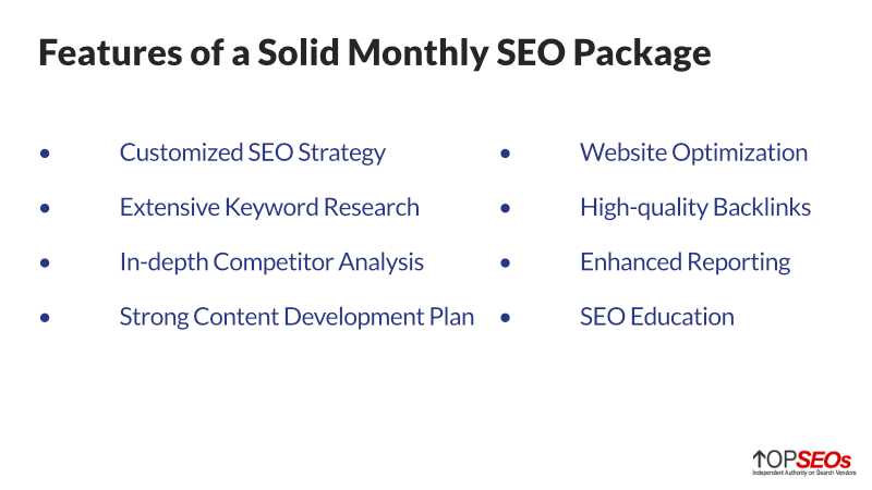 what to look for in a monthly seo package
