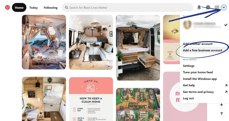 add a free business account to pinterest
