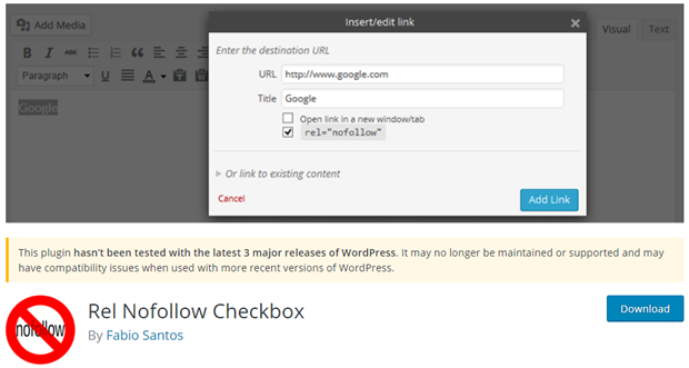 rel nofollow checkbox WordPress plugin for seo