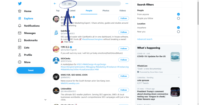 how to search for keywords on twitter