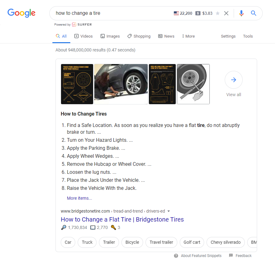 search intent featured snippet