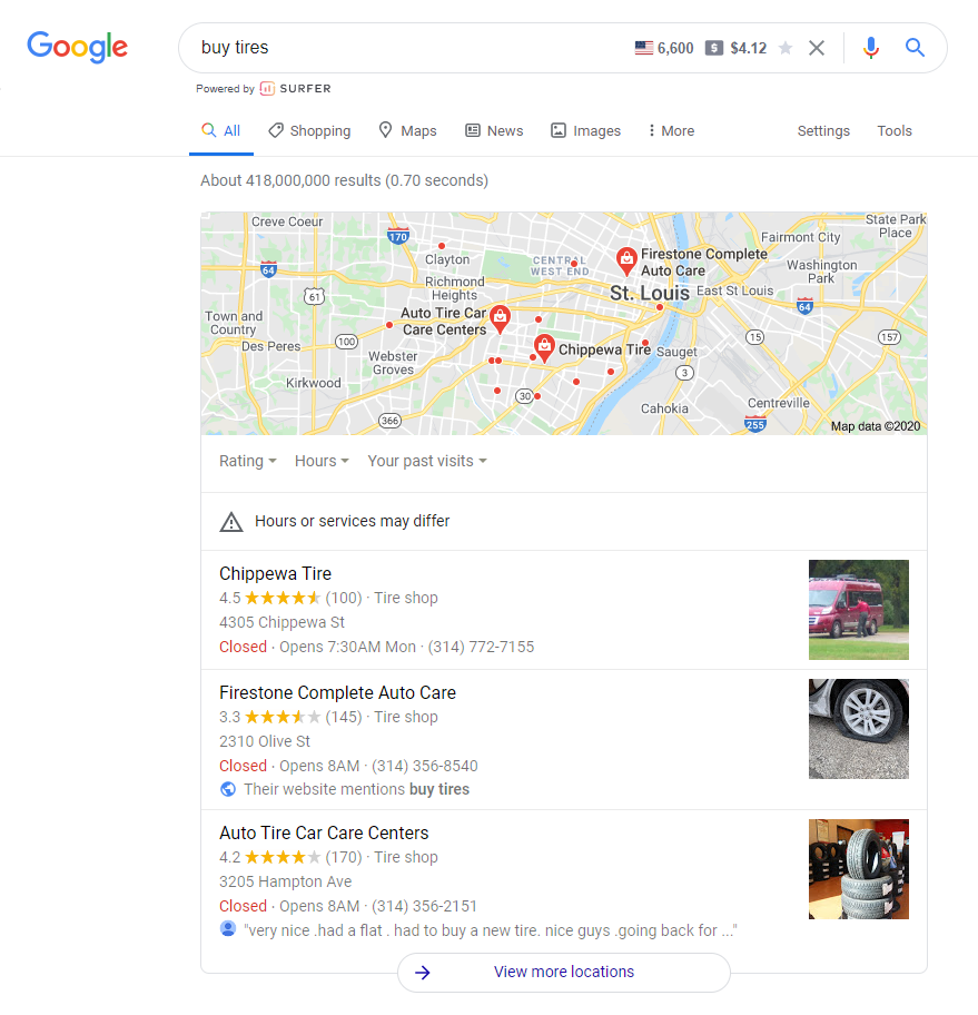 search intent local results