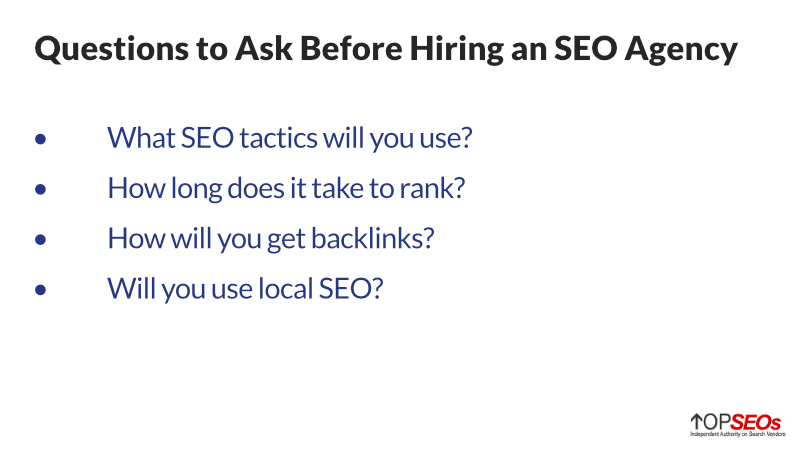 questions to ask a potential seo agency