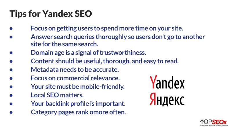 tips for yandex seo in russia