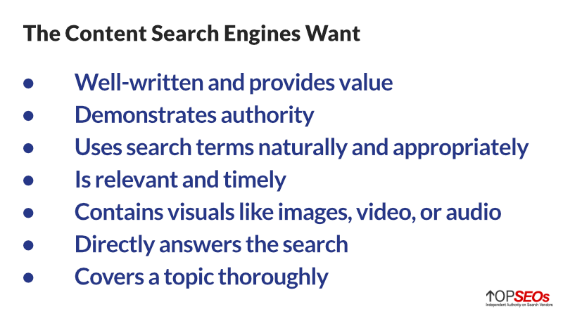 what search engines want for seo