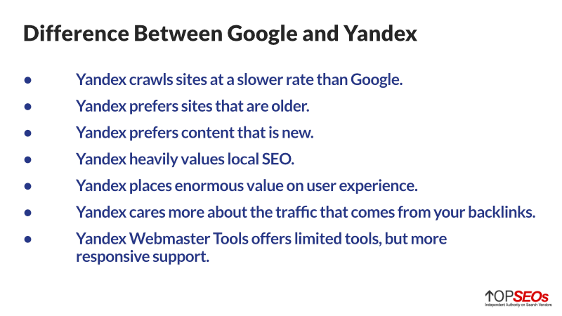 differences between yandex and google